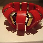 SALE Bakelite Red Stretch Vintage Bracelet
