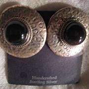 SALE Taxco Sterling Silver & Onyx Clip On Earrings