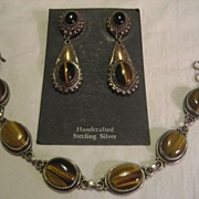 SALE Sterling Tiger Eye & Onyx Earrings & Bracelet