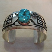Sterling Silver & Turquoise Overlay Navajo Bracelet