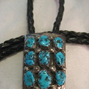 SALE Sterling Silver & Turquoise Vintage Bolo Tie Signed