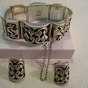 SALE Taxco Sterling Silver Hearts Vintage Bracelet & Earrings