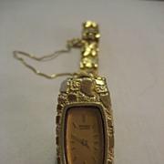 SALE 14 Karat Gold Nugget Seiko Watch