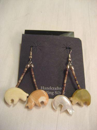 Heishi & Bear Fetish Vintage Earrings