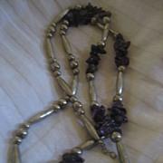 SALE Amethyst Vintage Necklace Nickel Silver Beads
