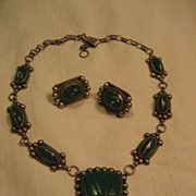 SALE Sterling Silver & Green Carved Stone Vintage Necklace + Earrings