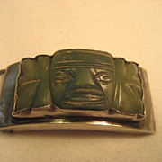 SALE Sterling Silver & Green Carved Jade Belt Buckle
