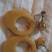 Bakelite Vintage Clip Earrings