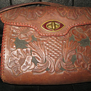 Tooled Painted Leather Vintage Handbag