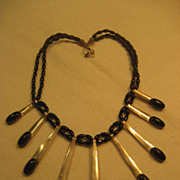 Sterling Silver & Onyx Vintage Necklace