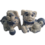 SOLD Foo Dogs Vintage White & Blue Pottery