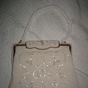 Ricci Beaded Vintage White Handbag