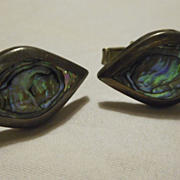 Sterling Silver Abalone Cuff Links