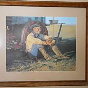 Snidow Chuckwagon Coors Cowboy Framed Print Signed