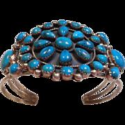 Sterling Silver Vintage Turquoise Cluster Bracelet