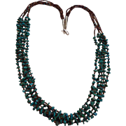 Sterling Silver Heishi Turquoise Nugget Five Strand Necklace