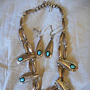 Sterling Silver Beaded Turquoise Vintage Necklace and Earrings