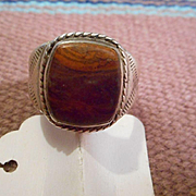 Sterling Silver and Red Jasper Vintage Ring