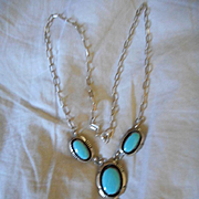 Sterling Silver and Sleeping Beauty Turquoise Pendant Necklace