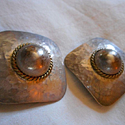 Sterling Silver Two Tone Earrings