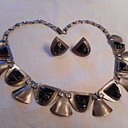 Sterling Silver & Carved Onyx Vintage Necklace & Earrings