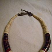 Heishi & Sterling Silver Vintage Necklace