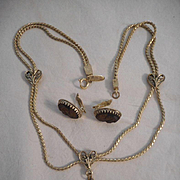 Whiting & Davis Vintage Cameo Necklace & Earrings