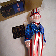 Uncle Sam Hand Blown Glass Ornament