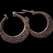Sterling Silver Scroll Hoop Earrings