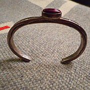 Sterling Silver & Purple Spiny Oyster Vintage Bracelet