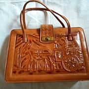 Leather Tooled Vintage Handbag