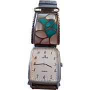 Sterling Silver Turquoise Mother Of Pearl Channel Inlay Watch