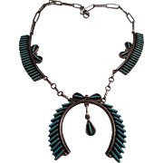 Sterling Silver Petite Point Turquoise Vintage Necklace
