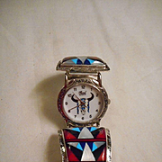 Sterling Silver & Inlay Vintage Watch Band