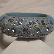 Rhinestone & Vintage Plastic Hinged Bracelet