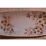 SALE Hand Painted Edwardian Era Limoges Porcelain Berry Spoon Holder or Celery Dish, Moss Rose