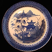 SALE Early Blue and White Willow Pattern Soup Plate, J & W Ridgway
