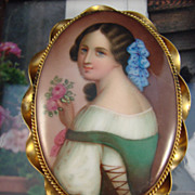 SALE Victorian Hand Painted Portrait on Porcelain - Brooch