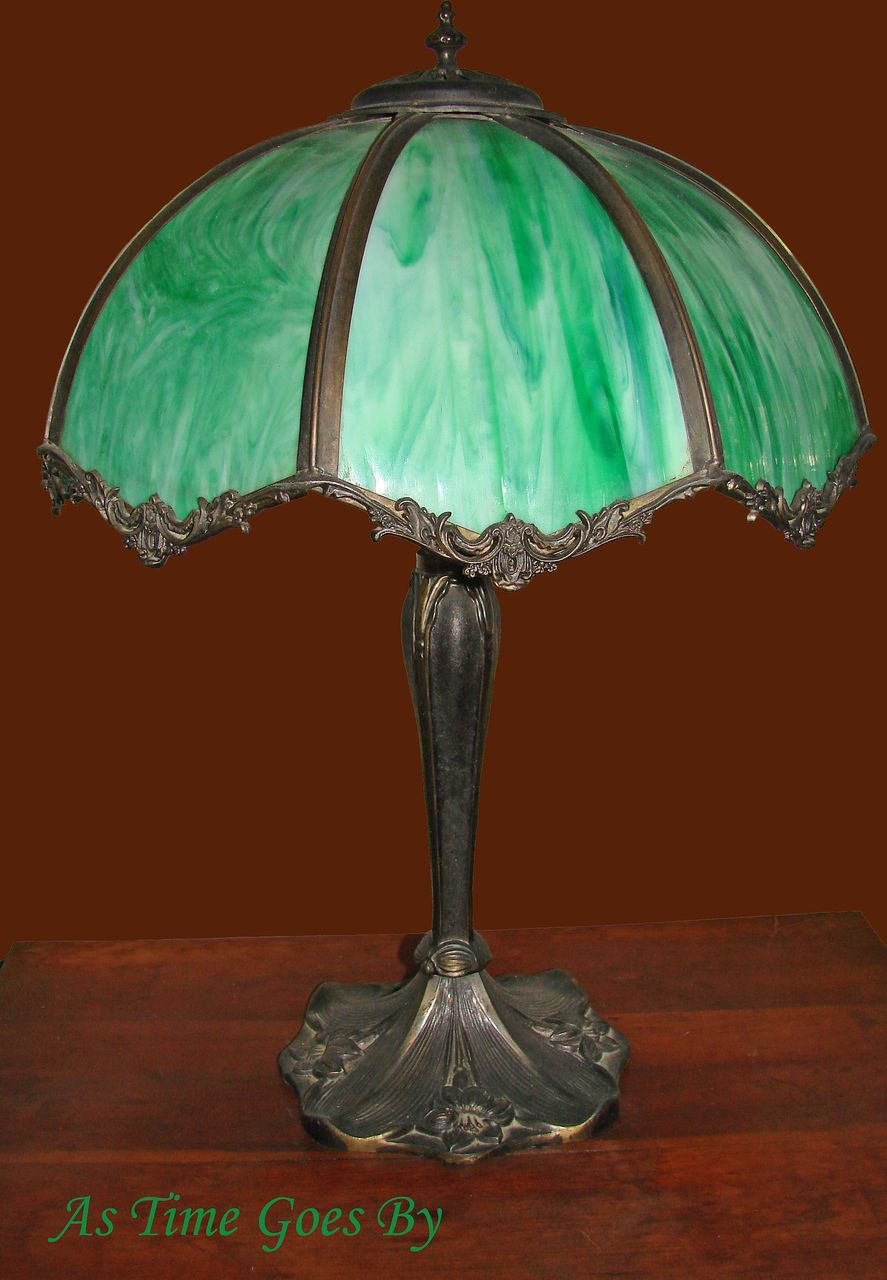 early 20th century vintage green glass table lamp. Black Bedroom Furniture Sets. Home Design Ideas