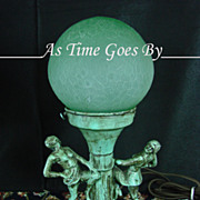 SALE Figural Antique Lamp with Green Glass Globe