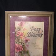 """""""Rose Dreams"""" Music Sheet Framed 1920"""
