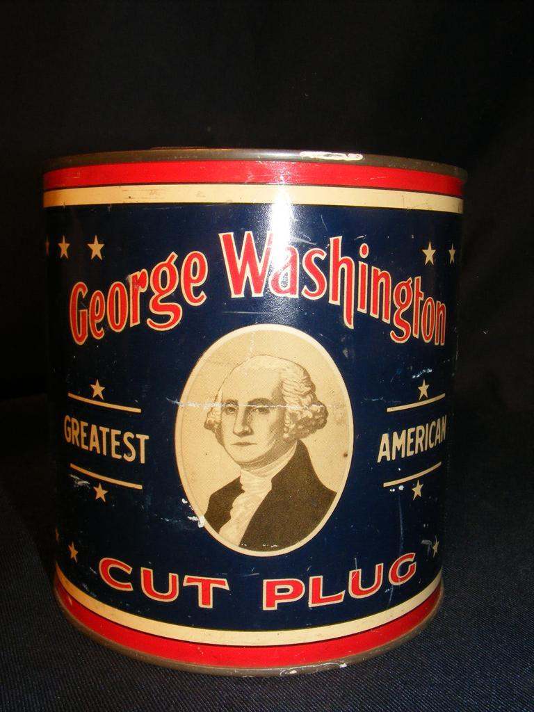 George Washington Cut Plug Tobacco Tin 1926 RJ Reynolds