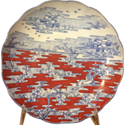"Japanese Imari 8 1/4"" Plate Rare Red & Blue Colors c.1825"