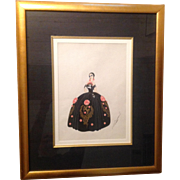 Original Erte Gouache Painting 1928 La Traviata Opera Dress Design Signed *RARE*