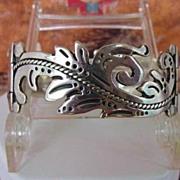 SOLD Vintage MARICELA TAXCO Mexican LINK Bracelet Sterling Silver Curvilinear Floral Signed