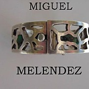 SOLD Rare 1940's MIGUEL MELENDEZ Mexican Taxco Hinged Bangle Bracelet Sterling Silver