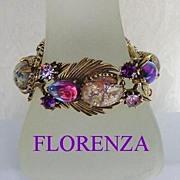 SOLD Elaborate Vintage FLORENZA Bracelet Art Glass Stones Easter Egg Cabochons Rhinestones