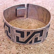SOLD 1940's Mexican Taxco Hinged Five Link Buttery Cuff Bracelet Sterling Signed