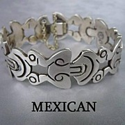 SOLD Vintage Fabulous TAXCO MEXICAN Pre Colombian Design Heavy Sterling Silver 6 – Link Brac