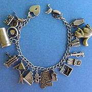 SOLD Fantastic 1940's Loaded Link Charm Bracelet 19 CHARMS Sterling Silver Many Mechanical